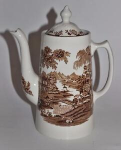 Royal-Staffordshire-England-Clarice-Cliff-TONQUIN-Brown-9-034-Coffee-Pot-w-Lid