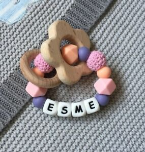 Baby Silicone Ring - Teething Rattle - Crochet Teether - Chew Toy - Baby Pink