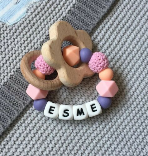 Baby Pink Crochet Teether Teething Rattle Baby Silicone Ring Chew Toy
