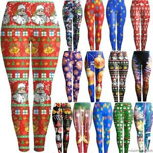 efb4bd4acad25 Xmas Christmas Graphic Print Women's Running Stretchy Pants Jogging ...