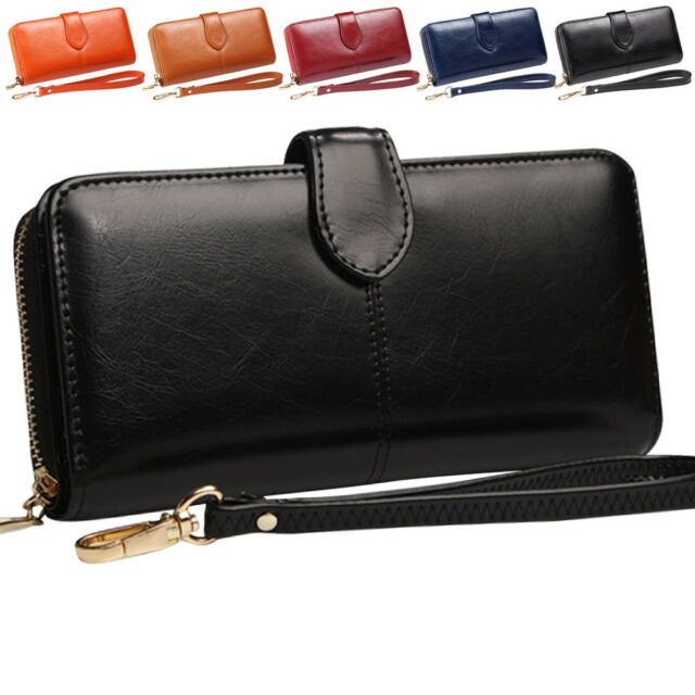 designer fashion promo codes recognized brands Women's Leather Clutch Wallet with Wrist Strap Large Capacity Card Holder  Purse