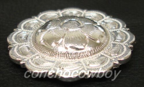 """WESTERN HORSE HEADSTALL TACK BRIGHT SILVER FLOWER CONCHO 1-1//2/"""" screw back"""