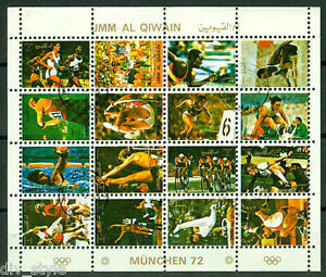 Munich 1972 Olympics minisheet of 16 cancelled stamps CTO