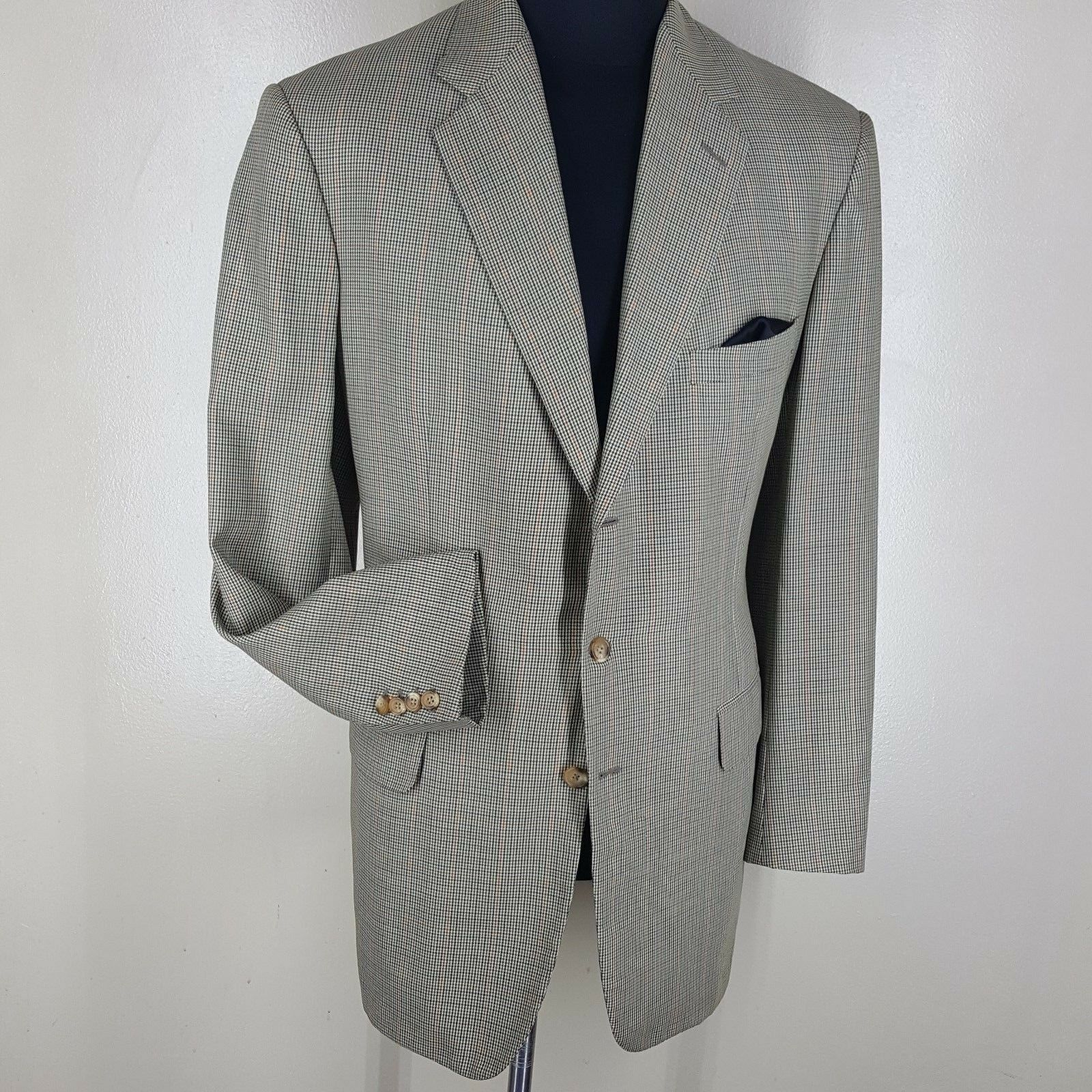 ALAN FLUSSER Bespoke Vintage Sport Coat Saks 5th Ave 3 Btn. Fit  44-46  X Long