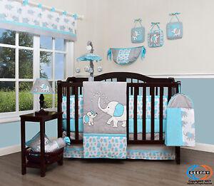 Baby Blizzard Blue Grey Elephant 13 Piece Nursery Crib