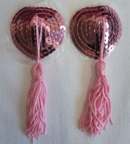 Self-Adhesive Pink Sequin /& Tassel Nipple Pasties Covers Stickers Burlesque