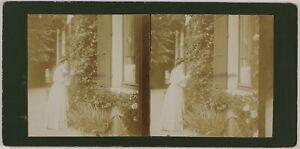 Giardino-Casa-Francia-Foto-Stereo-Amateur-Th2n8-Vintage-Citrato-c1900
