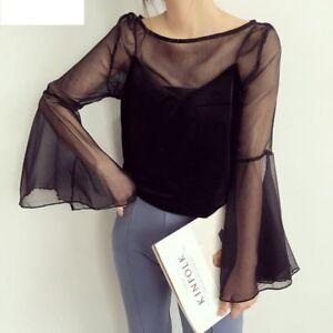 Flare-Sleeve-Blouse-Women-Top-Sheer-Mesh-Transparent-T-Shirt-2-pcs-Set-Vest