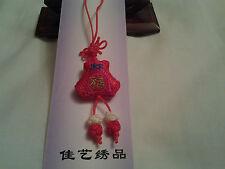 Hecho a mano roja Guacales forma nudo chino, encanto, Colgante Con Bordados suerte