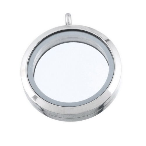 Silberfarbe Floating Charm Living Memory Lockets Glas Medaillon 3.6x3cm Neu FL