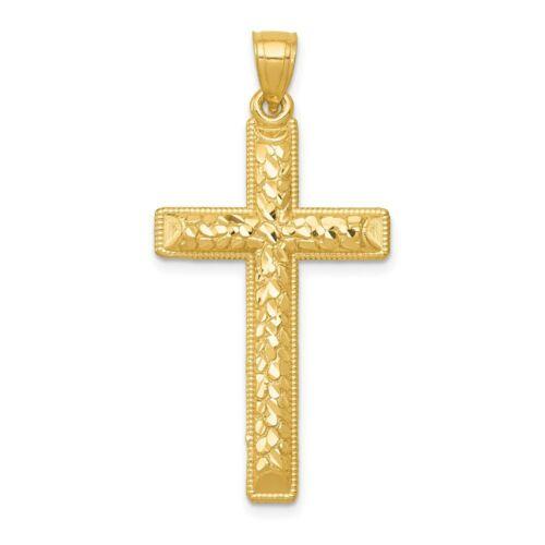 14k Yellow Gold Diamond-cut Latin Cross Pendant for Women 40.1x19.7 mm