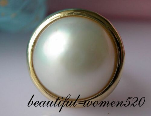 DM15 SET  20mm south sea mabe pearl ring pendant earring silver /& Gold