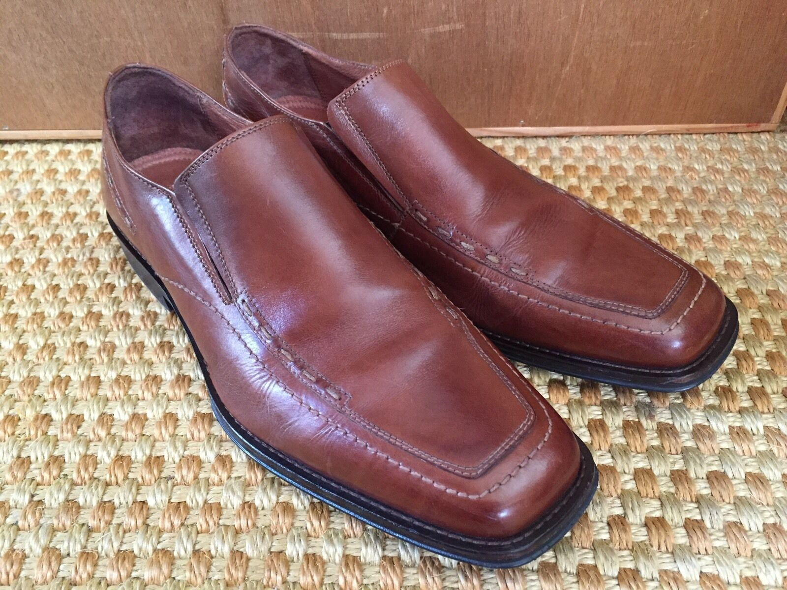 Johnston & Murphy Men SIZE 11 M Slip On shoes Brown Leather Romania EUC