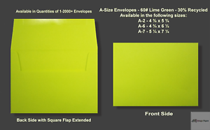 a2 a6 a7 60 premium lime green announcement envelopes various