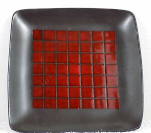 ... Home-Brand-Target-Red-and-Black-Grid-Square- & Home Brand Target Red and Black Grid Square Salad Bread plate | eBay