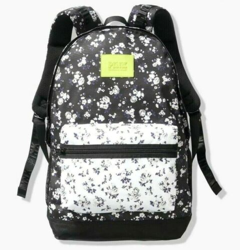 VICTORIAS SECRET PINK CAMPUS BACKPACK FULL SIZE BLACK WHITE FLORAL NWT FREE SHIP