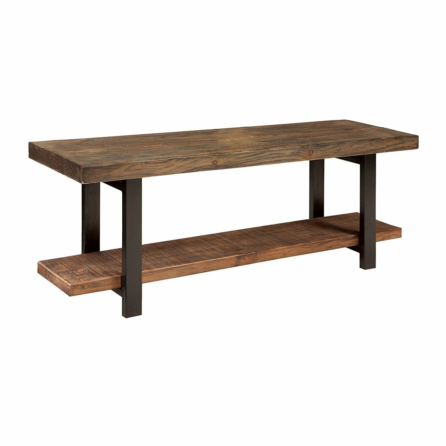 Rustic Natural Bench Wood Seat Metal Legs Brown Entry Way Shoe Storage Shelf New For Sale Online