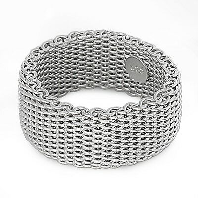 .925 Sterling Silver Mesh Design Plain Ring Sizes 5 6 7 8 9 10 NEW