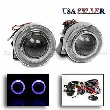 "1 PAIR EURO STYLE 3"" PROJECTOR FOG LIGHTS LAMPS BLUE LED HALO RINGS W/ SWITCH"
