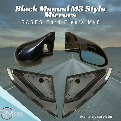 Black Manual M3 Style Mirrors /& Base Plates To Fit Ford Fiesta MK6 2002-2008