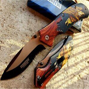"""8.5"""" TACTICAL Spring Assisted Open Pocket Knife FOLDING Blade Elk Wood Handle"""