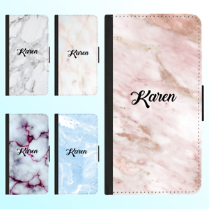 iPhone-X-8-7-6-Plus-PU-Leather-Flip-Wallet-Case-Marble-Personalised-Initial-Name