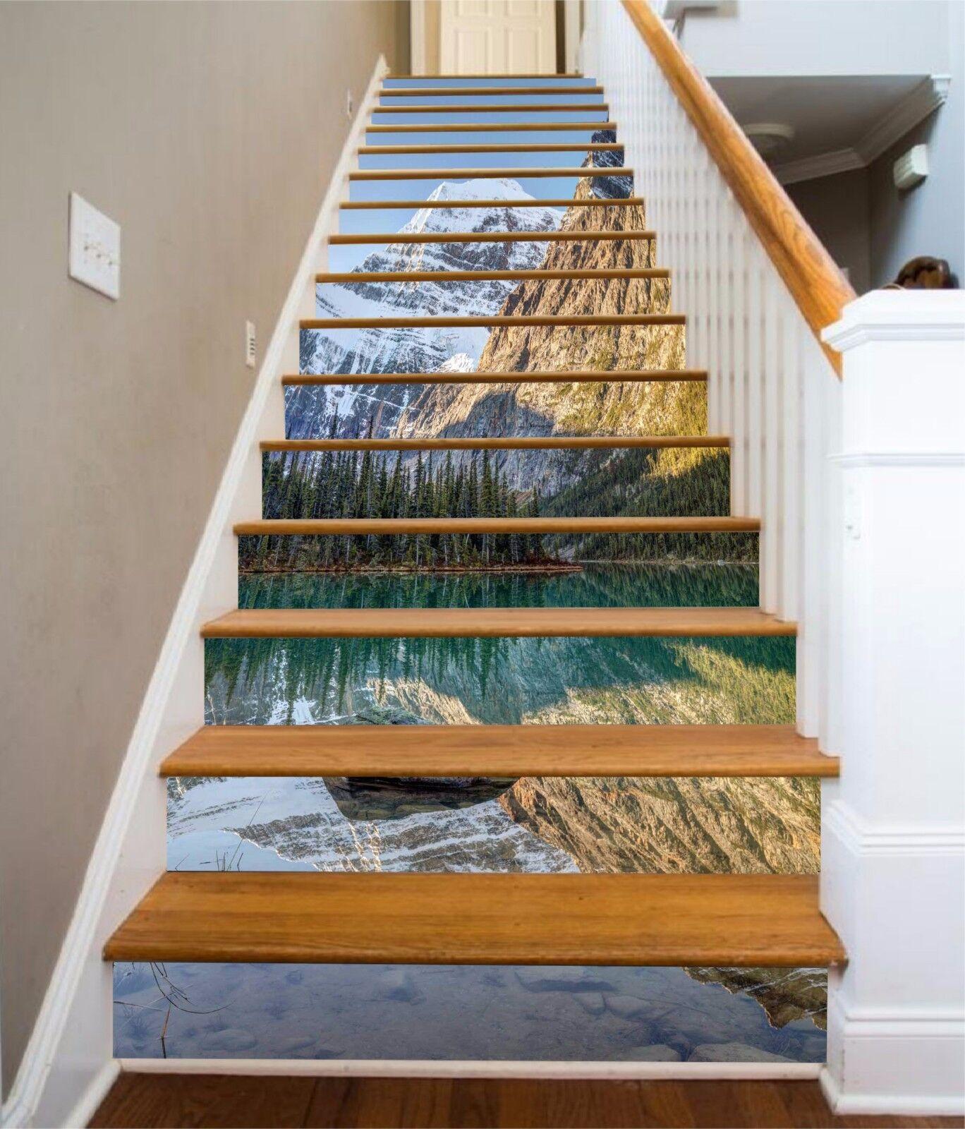 3D Woods lake 2 Stair Risers Decoration Photo Mural Vinyl Decal Wallpaper UK
