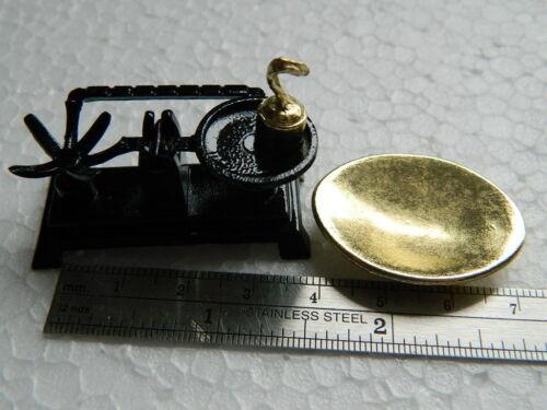 KP16 escala 1//12th Casa de Muñecas Metal no trabajo balanzas Negro//Oro