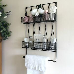 Image Is Loading Vintage Style Metal Bathroom Wall Shelf Unit Rack