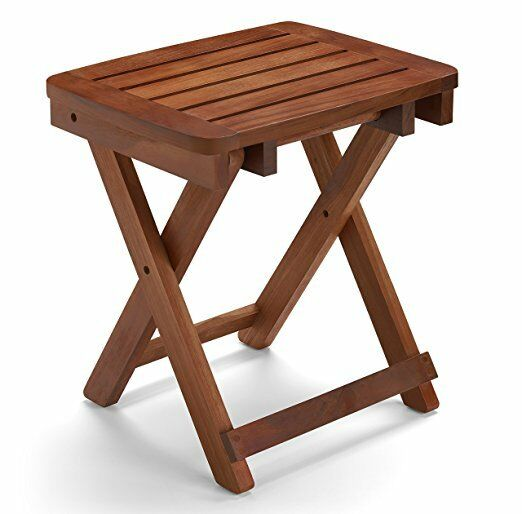 Conair PTB5 Folding Teak Wood Seat Safe Portable Bath Shower Bench ...