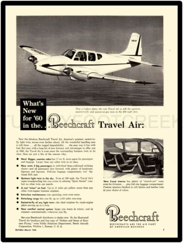 "1960 BEECHCRAFT TRAVEL AIR AD 9/"" x 12/"" ALUMINUM Sign"