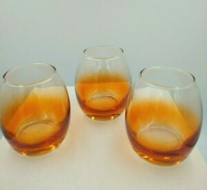 Mid Century Modern Fading Orange Ombre Glasses Set of 3 Unmarked Glassware