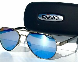 6f88b6f6286 Image is loading NEW-REVO-Raconteur-Aviator-Gunmetal-POLARIZED-Blue-Water-