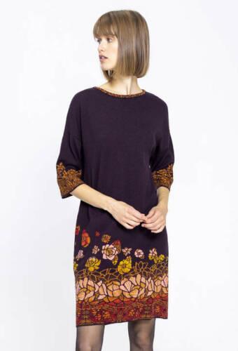 IVKO Kleid dress rot schwarz bordeaux Glasmalerei geblümt Merino-Wolle 192741