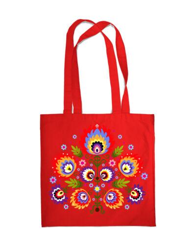Shopping Bag Eco Friendly Folk Floral Print Shopper Tote Beach Shoulder Handbag