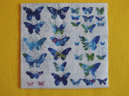 20 Serviettes de nombreux Papillons Bleu Butterfly Motif Fly Away 1 boîte neuf dans sa boîte