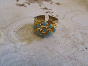 Gold-Tone-amp-Blue-Stone-Costume-Jewellery-Ring-in-Size-K-imperfect