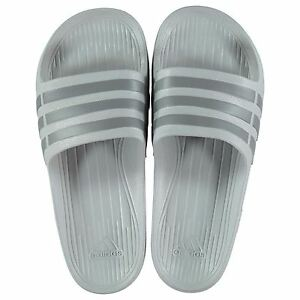 90211ceac096 NEW Adidas Men Duramo Sliders Flip Flops Clear Onix Gray SIZE FROM 6 ...
