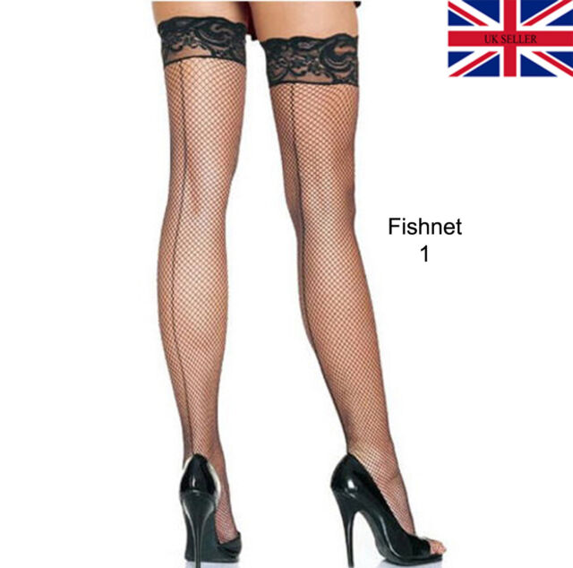737200f07c6 Ladies Thigh High Fish Net   Fencenet Lace Stockings Womens Hold UPS ...