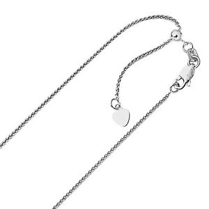 1-00mm-Solid-Adjustable-Spiga-Wheat-Chain-Necklace-REAL-10K-White-Gold-22-034-2-4gr