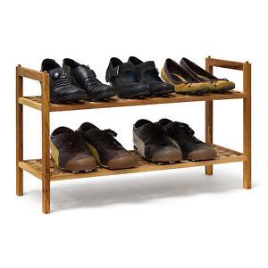 Schuhregal-Walnuss-stapelbar-mit-2-Ablagen-Schuhablage-Holz-Schuhschrank-2-Boeden