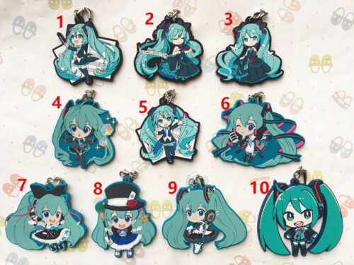 Hatsune Miku Vocaloid Anime Figure Rubber Strap Charm Keychain Keyring Gift LS