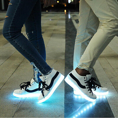 New Womens LED USB Charging Shoes Lace Up High Top Luminous Athletic Sneakers