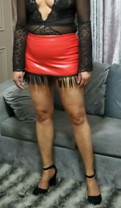 Satin Micro Mini Skirt Women/'s Shinny Dots Frilled High Waist Frilled Tiers 6-24