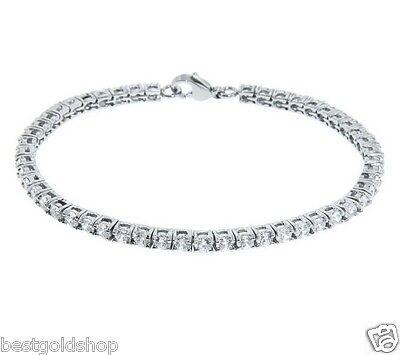 Diamonique CZ Round Cut Prong Set Tennis Bracelet Stainless Steel QVC J278853