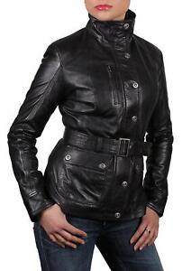 Brandslock Womens Long Leather Jacket Genuine Sheepskin
