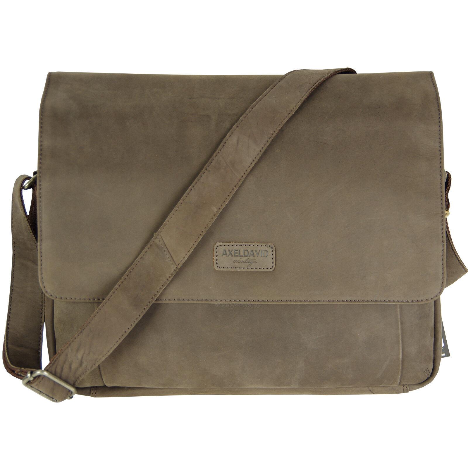 AXEL DAVID Umhängetasche Schultertasche Leder Tasche HUNTER Laptop Aktentasche | Exquisite (mittlere) Verarbeitung