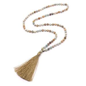 BENAVA-Damen-Halskette-aus-Amazonit-Perlen-Kette-mit-Quaste-Matt-Bunt-Gold-Lang