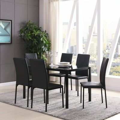 Black Glass Dining Table Set With 6 Chairs Faux Leather Chair New