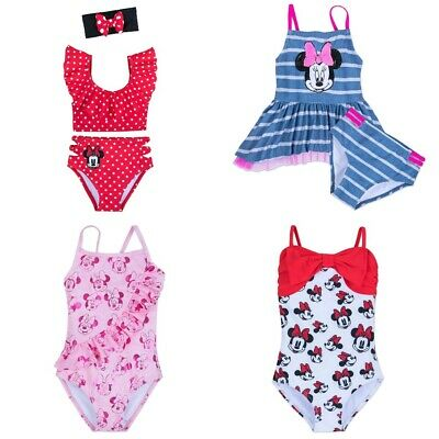 Bathing suit 2-Pc Disney Store Pink Minnie Mouse Rashguard Polka dots Swimsuit